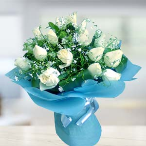 White Rose Bunch: Gift  Malwa Mill,  Indore