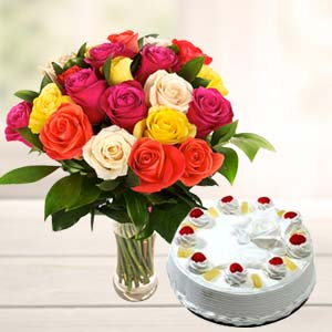 Mix Roses With Pineapple Cake: Anniversary-flowers-&-cake  Indore