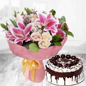 Fresh White Roses With Pink Lillies Combo: Gift Kumar Khadi,  Indore