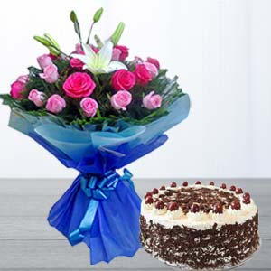 Fresh Pink Roses & Cake Combo : Gifts Radio Colony,  Indore