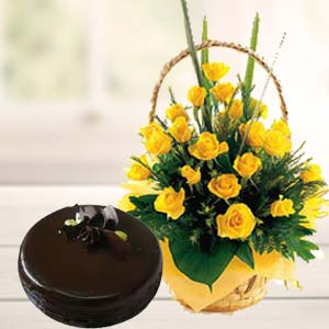 Fresh Yellow Roses With Chocolate Cake: Gift Cloth Market,  Indore