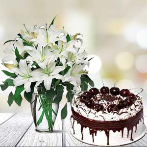 White Lilies With Vanila Cake: Gift Manorama Ganj,  Indore