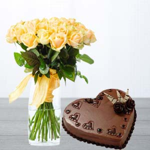 Yellow Roses With Heart Shaped Cake: Gifts Topkhana,  Indore