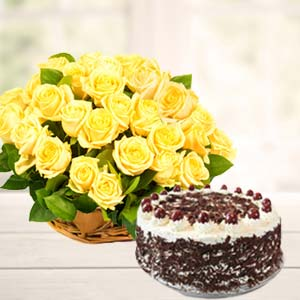 Yellow Roses With Black Forest Cake: Gift Nanda Nagar,  Indore