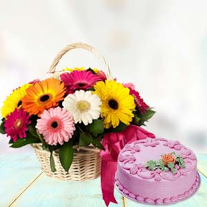 Basket Of Gerbera With Strawberry Cake: Gift B K Colony,  Indore