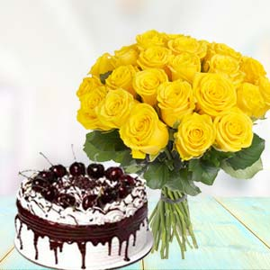 Yellow Roses With Vanila Cake: Unique-mothers-day-gifts  Indore