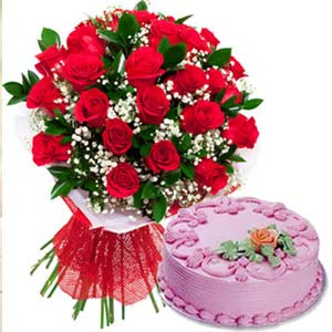 Red Roses With Strawberry Cake: Gift Burankhedi,  Indore