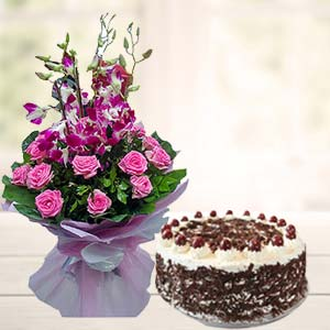 Orchids With Black Forest Cake: Gifts Topkhana,  Indore