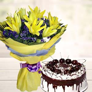 Yellow Lilies With Vanila Cake: Gifts Tukoganj,  Indore