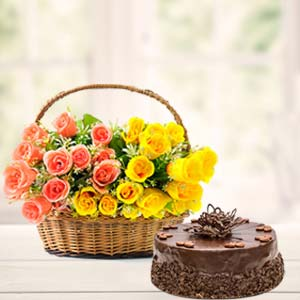 Fresh Mix Roses With Chocolate Cake: Gift Kumar Khadi,  Indore