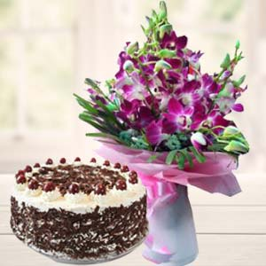 Purple Orchids With Black Forest Cake: Gifts Radio Colony,  Indore