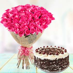 Pink Roses With Black Forest Cake: Unique-mothers-day-gifts  Indore