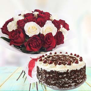 Mix Roses With Black Forest Cake: Gift R.s.s.nagar,  Indore