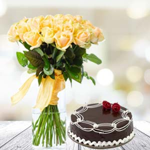 Yellow Roses With Rich Chocolate Cake: Gifts Juni Indore,  Indore