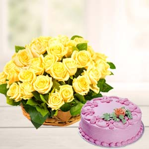 Strawberry Cake With Yellow Roses: Gift Manorama Ganj,  Indore