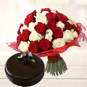 Roses With Dark Chocolate Cake: Gifts Malwa Mills,  Indore
