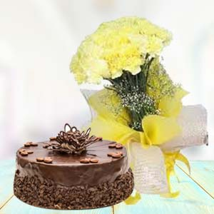Yellow Carnations With Chocolate Cake: Gifts For Sister Bijasan Road,  Indore