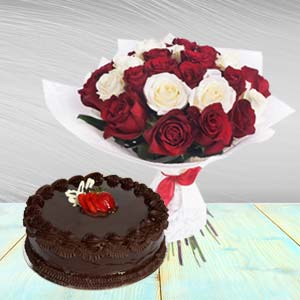 Roses Arrangement With Chocolate Cake: Valentine's Day Gifts For Boyfriend B K Colony,  Indore
