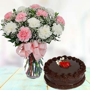 Mix Carnations With Chocolate Cake: Gifts For Brother New Palasia,  Indore