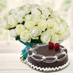 White Roses With Rich Chocolate Cake: Gift Rambagh,  Indore