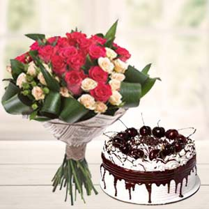 Roses Bunch With Vanila Cake: 50th-birthday-gifts  Indore