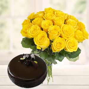 Yellow Roses With Dark Chocolate Cake: Gift Govt College,  Indore
