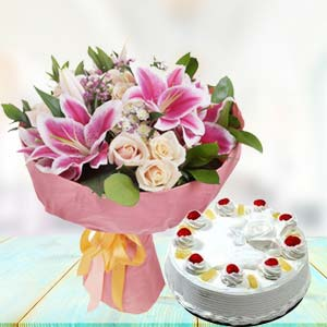 White Roses With Pink Lilies Combos: Gifts For Boyfriend Industrial Area,  Indore