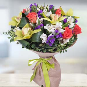 Mix Flowers With Green Fillers: Gifts For Brother Raj Mohalla,  Indore