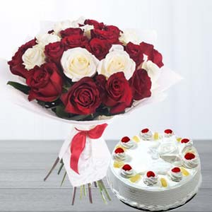 Roses With Pineapple Cake: Gifts For Husband Burankhedi,  Indore