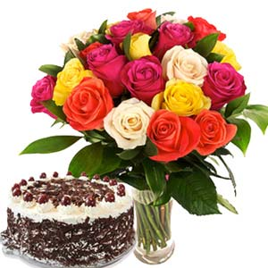 Roses With Black Forest Cake: Gift Tukoganj,  Indore