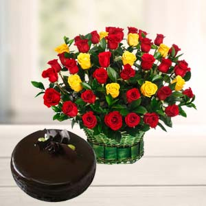 Roses With Dark Chocolate Cake: Gifts For Brother Malharganj,  Indore