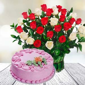 Roses With Strawberry Cake: Gifts Malwa Mills,  Indore