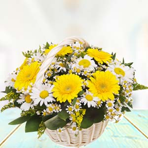 Basket Of Yellow Gerbera: Gifts For Sister Industrial Area,  Indore