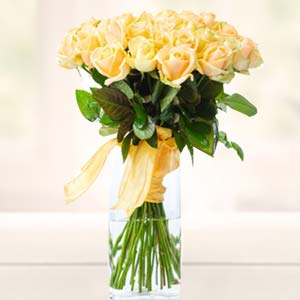 Yellow Roses In Glass Vase: Rose Day Raj Mohalla,  Indore