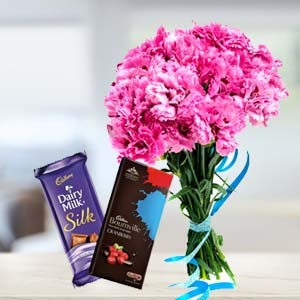Carnations With Chocolates: Gifts For Husband Malwa Mills,  Indore