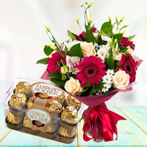Mix Flowers With Ferrero Rocher Pack: Gifts For Brother Cloth Market,  Indore