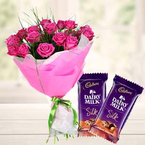 Pink Roses With Dairy Silk Chocolates: Gifts For Her Sringar Colony,  Indore