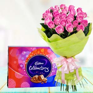 Pink Roses With Celebration Pack: Gifts For Brother Army Head Quarter,  Indore