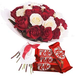 Roses With KitKat Chocolates: Gifts For Brother Nandagar,  Indore