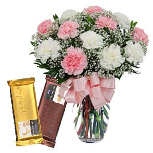 Mix Carnations With Chocolates: Gifts For Husband Malwa Mills,  Indore