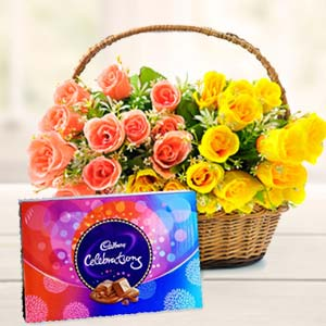 Roses Basket With Celebration Pack: Gift Burankhedi,  Indore