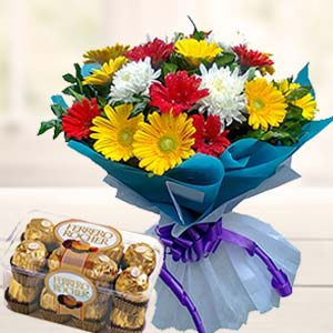 Mix Gerbera With Ferrero Rocher: Gifts For Brother Cloth Market,  Indore