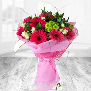 Pink Gerbera Bunch: Anniversary Radio-colony, Indore