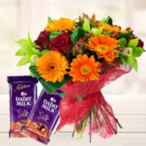 Mix Flowers With Chocolates: Gifts For Sister Nandagar,  Indore