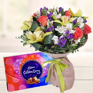 Mix Flowers With Celebrations Pack: Gifts For Husband Burankhedi,  Indore