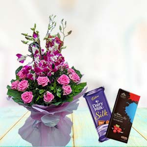 Orchids With Chocolates: Gifts For Boyfriend Biyabani,  Indore