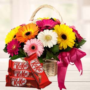 Gerbera Basket With KitKat Chocolates: Gifts For Boyfriend Biyabani,  Indore