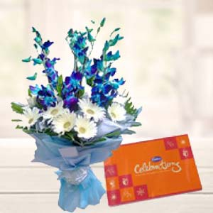 Blue Orchids With Celebrations Pack: Gift Malwa Mills,  Indore