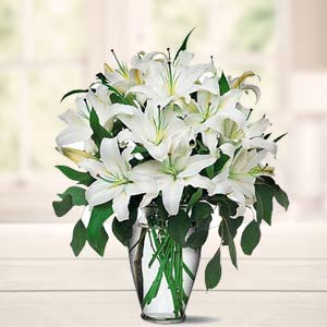 White Lillies In A Vase: Father's Day Cgo Complex,  Indore