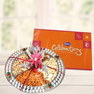 Dryfruit Basket With Cadbury Celebrations: Gifts For Brother Bada Sarafa,  Indore